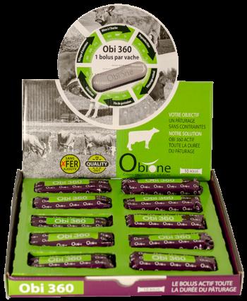 Obi 360, bolus d'oligo-éléments composé de sélénium, iode, zinc, cuivre et manganèse idéal pour le pâturage des vaches laitières.