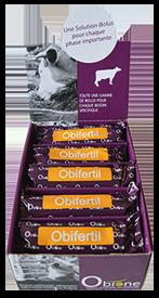 Obifertil, bolus d'oligo-éléments composé de béta-cartène, vitamine A, sélénium, iode, zinc, pour la reproduction des vaches